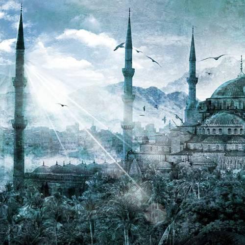 Tableau oriental mosquee Istanbul bleu