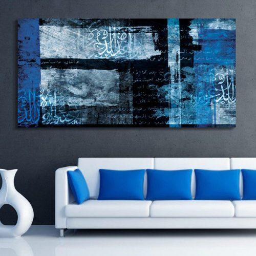 Tableau oriental abstrait noir et bleu