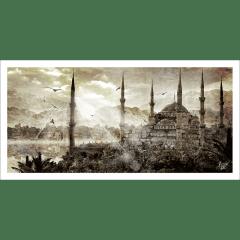 Poster oriental-mosquée d'Istanbul-marron