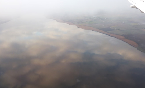 Approach to Dundee; sky reflected in the perfectly smooth River Tay