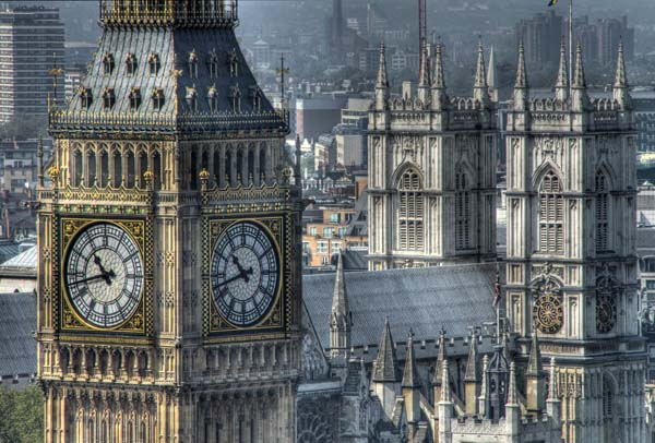 Tower of Westminster - aka Big Ben, Westminster Abbey behind