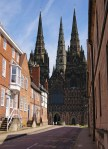 Lichfield Cathedral - from town