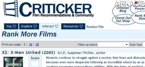 Criticker é uma rede social que recomenda filmes para você