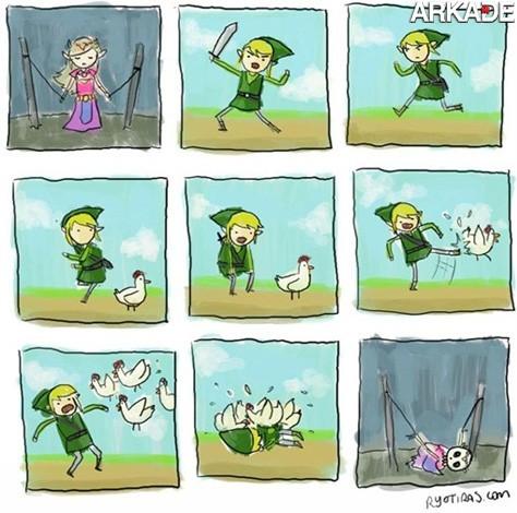 Tirinha - A vingança das galinhas de Legend of Zelda