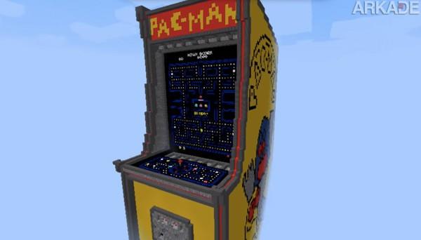 Fã insano cria fliperama de Pac-Man dentro de Minecraft