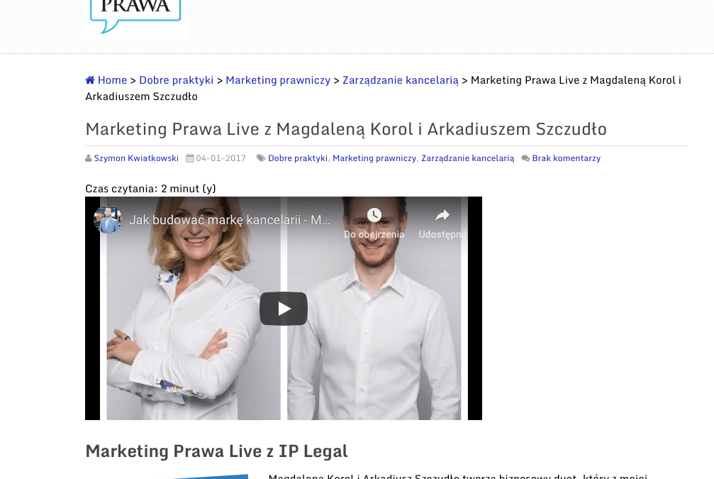 Marketing Prawa Live – wywiad na marketingprawa.pl