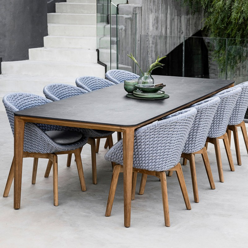 aspect outdoor dining table 8 seater teak frame ceramic table top w280