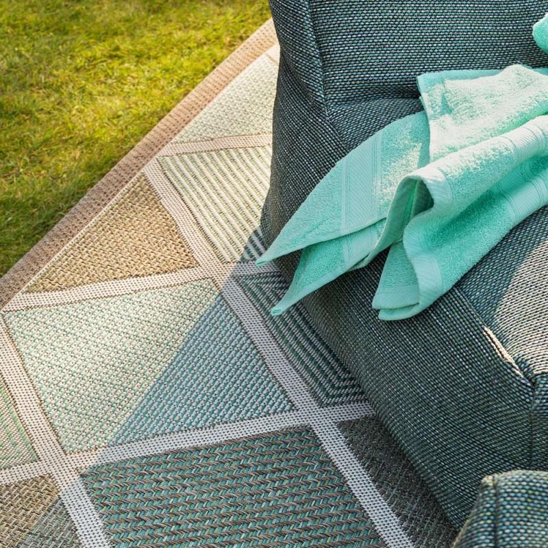 tapis d exterieur meridian turquoise en polypropylene 230x330cm