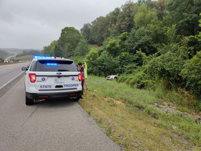 Vehicle Swerves Off Roadway, But Pair Inside Uninjured