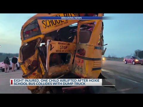 Watch: School: Dump truck rear-ends Northeast Arkansas school bus, 7 kids injured, one airlifted