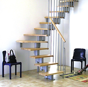 Kompact Adjustable Staircase Kit Metal Steel And Wood Spiral | Semi Spiral Staircase Design | Curved Staircase | Residential Library | Interior | Futuristic | Iron