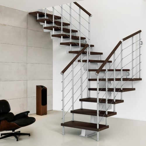 Genius Modular Stairs Metal Steel And Wood Spiral Staircase Fontanot