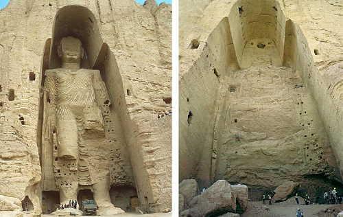 Los budas de Bamiyán tallados en la montaña, fueron dinamitados por los talibanes en el año 2000.
