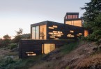 modern hill side house, Bailer hill house, contemporary architecture, residential architecture, Prentiss-Balance-Wickline, modern wood house, friday harbor, washington state architecture, house on slope,