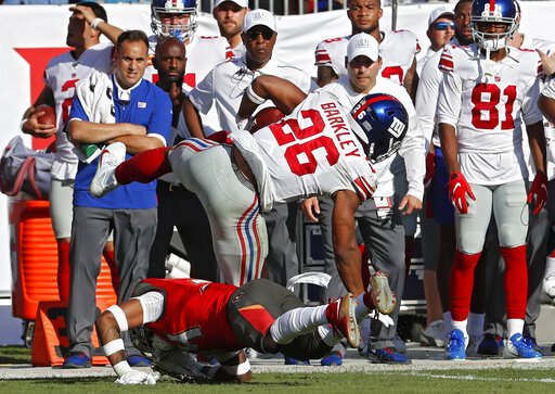 brand new 86bf8 7c3a4 Giants Barkley has high ankle sprain, time out uncertain ...