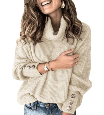 Women's Turtleneck Chunky Pullover Cowl Neck Slouchy Loose Knit
