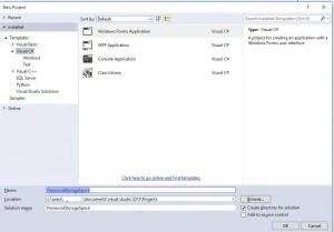 Visual Studio Create New Application