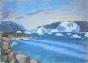 Saqquaq, Disko-Bucht, Grönland, Pastellzeichnung. (c)kerstin heymach