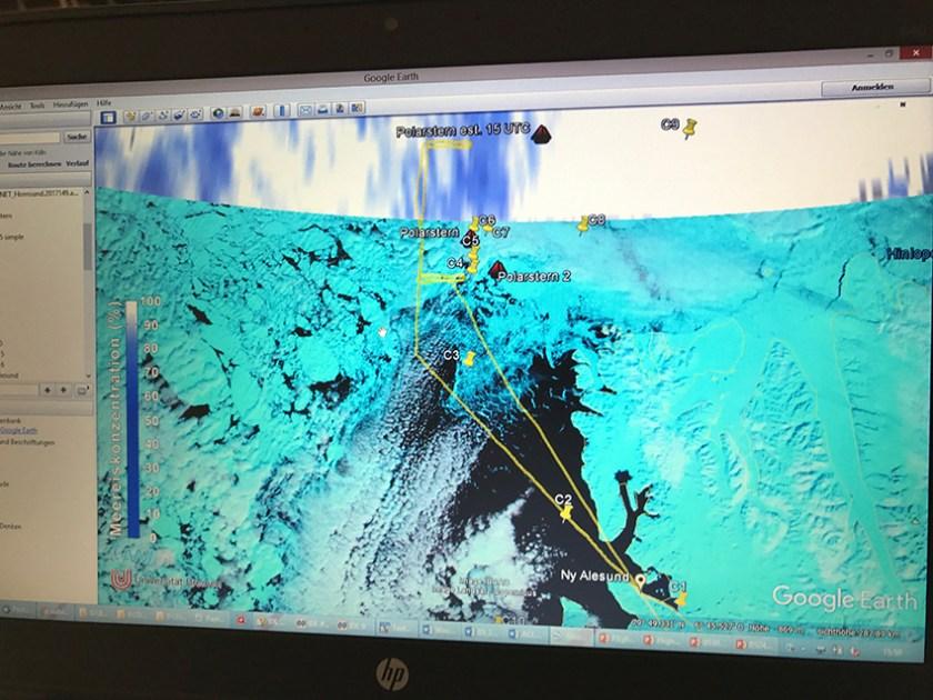 Lage der Polarstern, geplante Flugroute