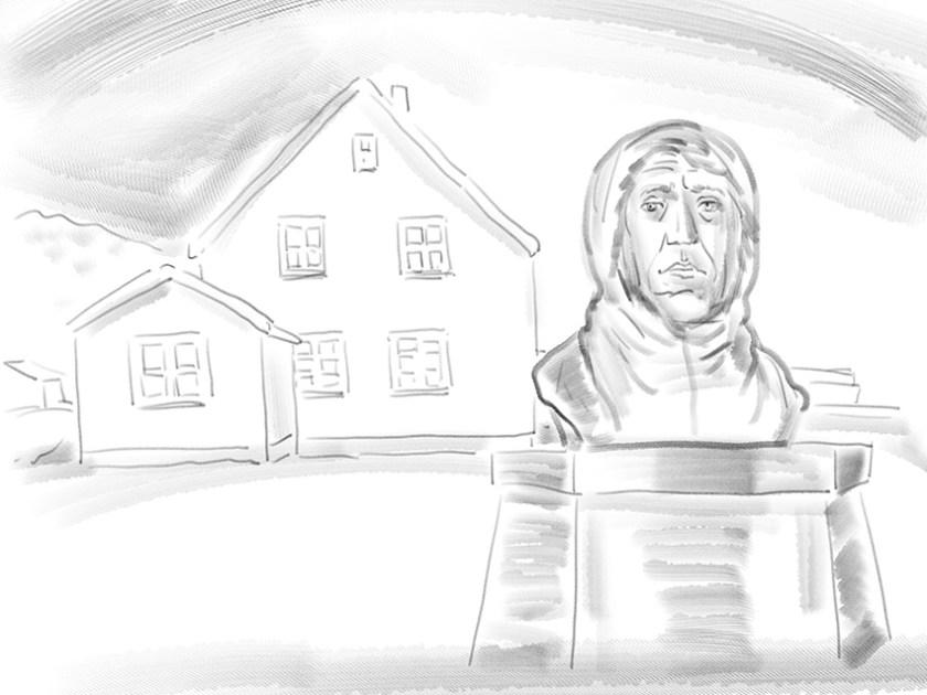 Amundsen-Büste vor dem blauen Haus.
