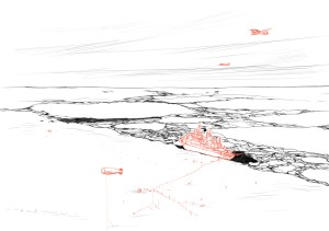 Forschungsschiff Polarstern im Eis