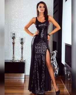 Дълга официална рокля от пайети с цепка