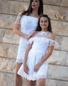 Комплект еднакви рокли за майка и дъщеря с луксозна дантела Бела