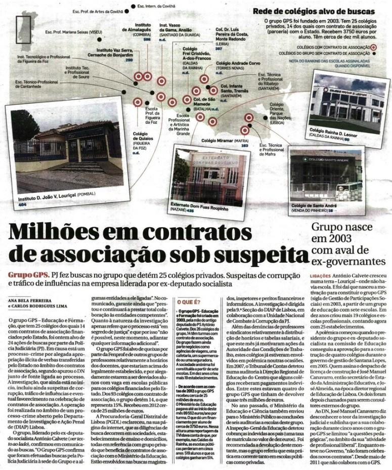DN - Milhões em contratos de associação sob suspeita