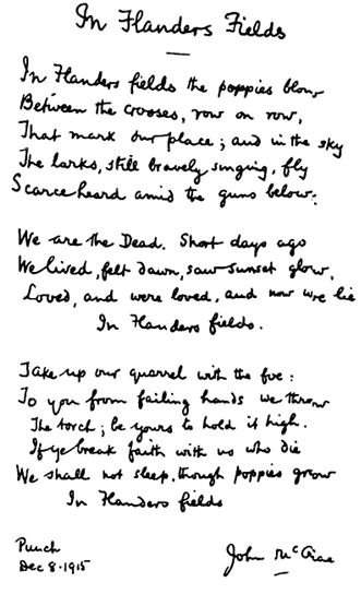 In Flanders Field - Copy of Signed Original