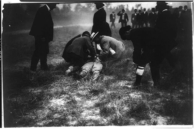 Thomas E. Selfridge Being Attended to By Doctors Following The Crash