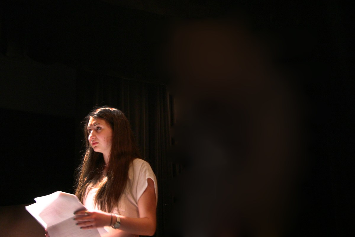 Sophomore Alexandra Dubson reherses her part in one of the Little Theater Little Shows.  The event consists of nine shows that are all student produced.  Image by Maria Berger