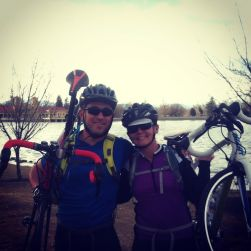 Dan and Lauren Crawford  pose in front of  a lake in Colorado. They are training for Bike and Build in the summer.