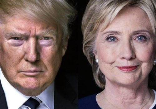 Republican candidate Donald Trump is pictured alongside Democratic candidate Hillary Clinton.