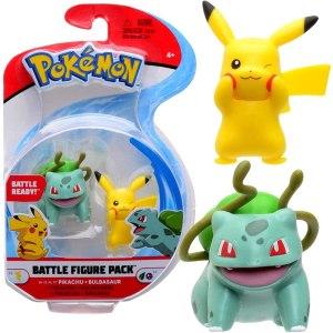 Pokemon Battle Figure Pack - Pikachu & Bulbasaur Ga de strijd aan met deze 2 pokemon battle figuren! Bij deze set zitten zowel Pikachu en Bulbasaur