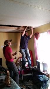 Repairing water damaged ceilings under the roof leak