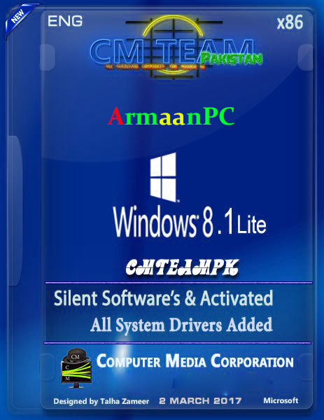 Windows 8.1 Pro X86 Super Lite Edition+Software 2017 Size {702-MB} By CmTeamPK