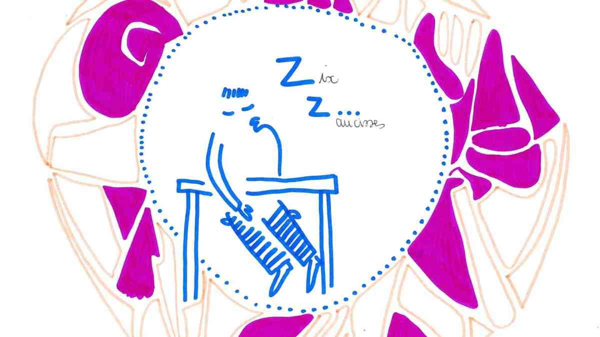 Dessin - un personnage dort sur une table