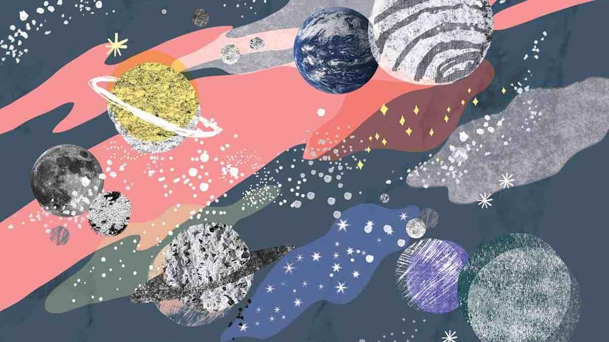 Illustration Mercredi - des planètes dans l'espace dessinées dans un style cartoon