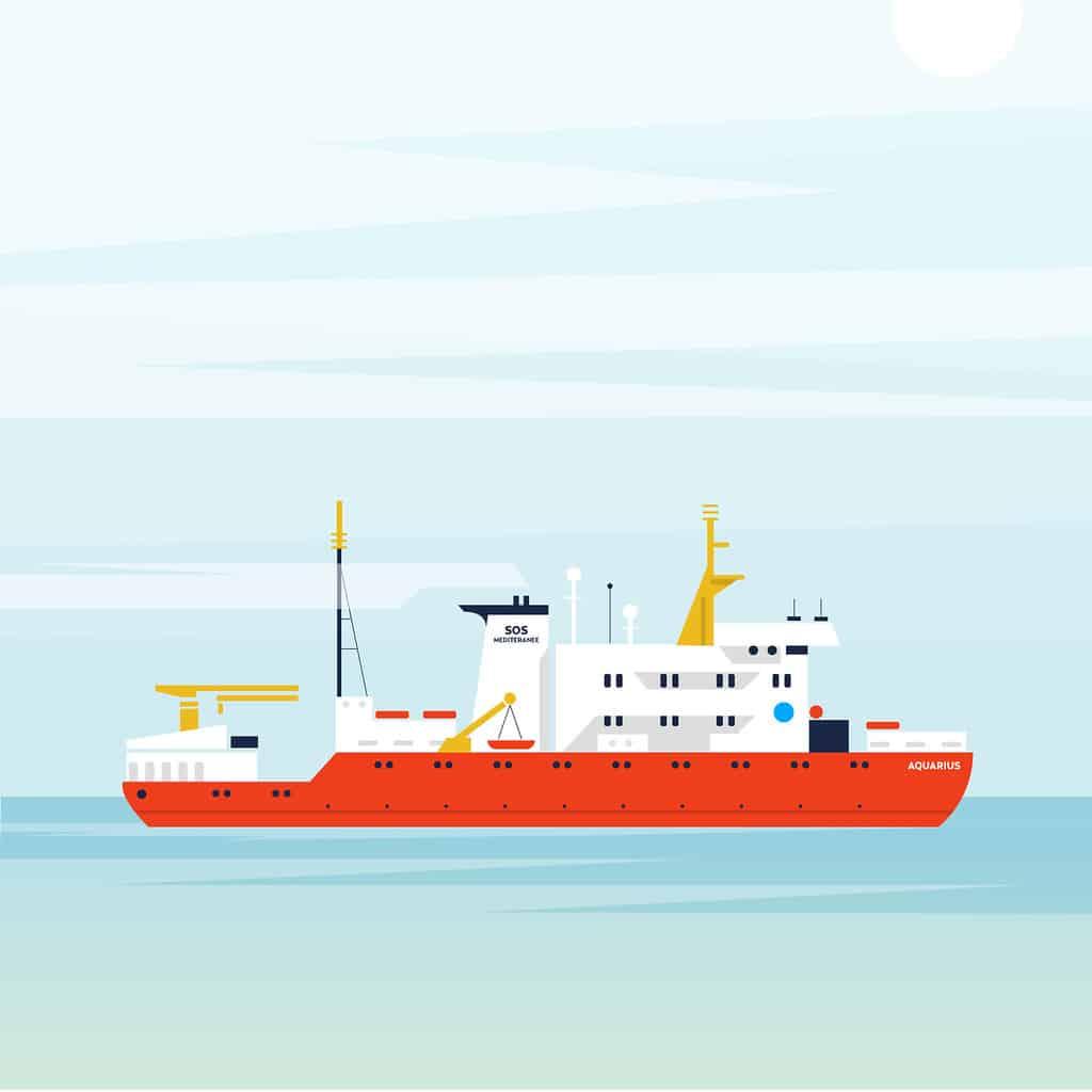 Illustration Mercredi - Dessin du bateau l'Aquarius