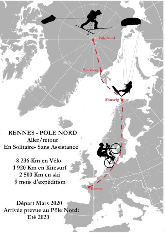 Illustration mercredi - carte du trajet de Rennes au Pôle Nord