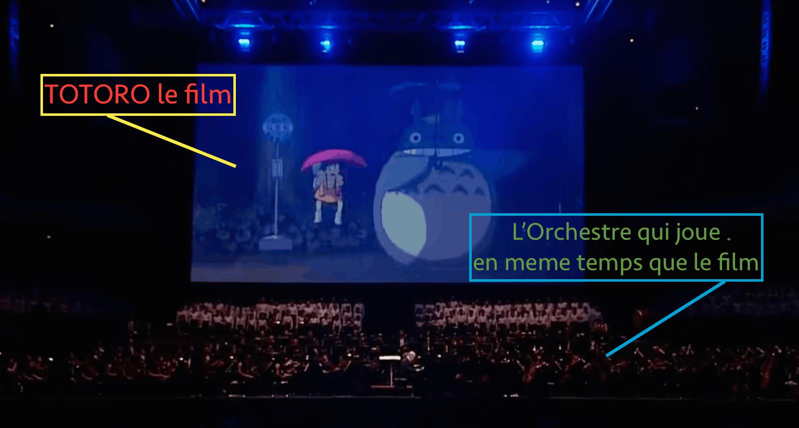 Photo d'un orchestre qui joue devant une projet de Totoro