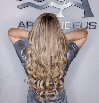 Hair color and extensions done at Salon Armandeus Weston