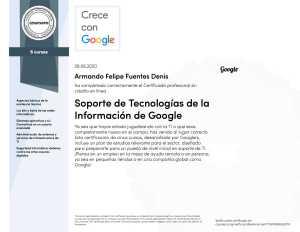 Google IT Support professional certificate by Armando Felipe Fuentes Denis