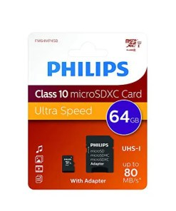 MICRO SD 64GB CLASE 10 C/ADAP PHILIPS (FM64MP45B)