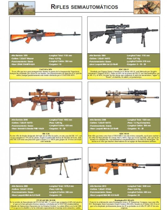 Rifles semiautomáticos al detalle