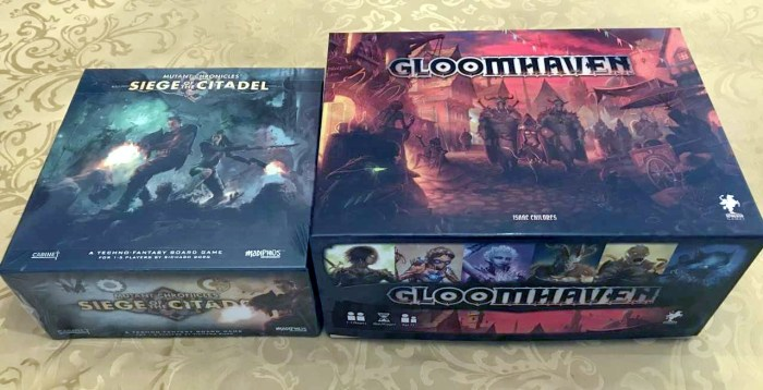"""Gloomhaven"" provided for scale."