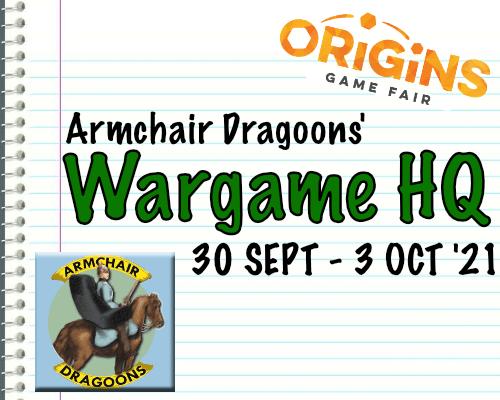 Armchair Dragoons Origins 2021 Events Schedule & Map