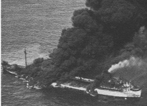The Tanker SS Pennsylvania Sun burns fiercely after being