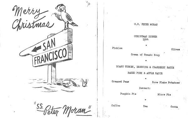 Christmas Menu from the SS Peter Moran