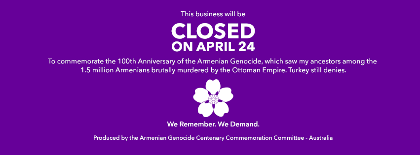 ArmenianAustralian businesses and employees asked to take day off on April 24th  Australia